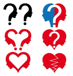 man and woman with question mark set vector image