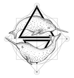 Narwhals tattoo geometry with vector
