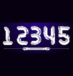 numbers typography font futuristic modern style vector image