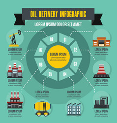 Oil refinery infographic concept flat style vector