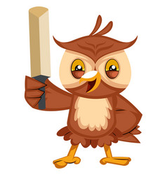 owl with sword on white background vector image