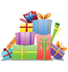 Pile of Gift Boxes vector image