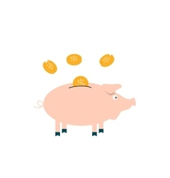 Pink Pig piggy bank with falling coins - vector image