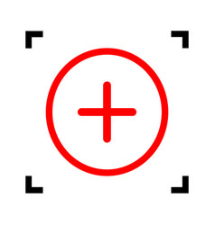 positive symbol plus sign red icon inside vector image