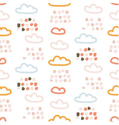 rainy clouds cute pastel colors seamless vector image