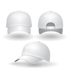 Realistic white baseball cap set vector