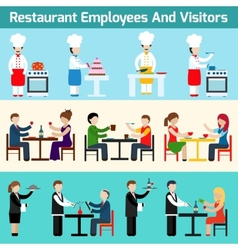 Restaurant employees and visitors vector image