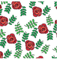 roses flower natural leaves decoration pattern vector image