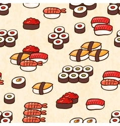 Seamless background with sushi vector