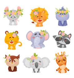 Set animals in wreaths on vector