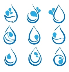 Set of water design elements emblems signs logo vector