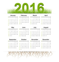 simple calendar 2016 year Grass style vector image