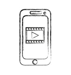 Smartphone video play button app mobile vector