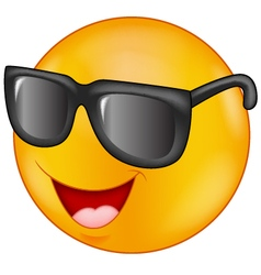 Smiling emoticon wearing sunglasses vector image