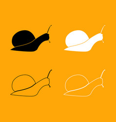 snail silhouette set black and white icon vector image