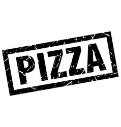 Square grunge black pizza stamp vector