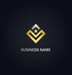 square v initial star gold logo vector image