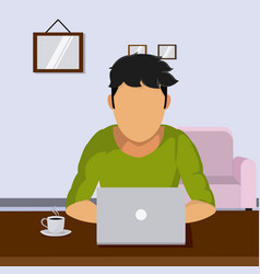 student sutdying with laptop at room vector image