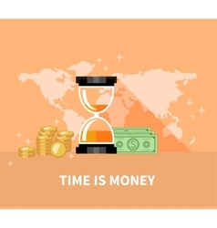 Time is Money Concept Hourglass Coins vector image