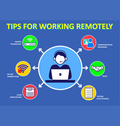 Tips for working from home or and health vector