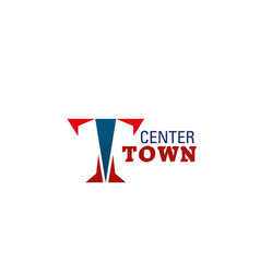 town center letter t icon vector image