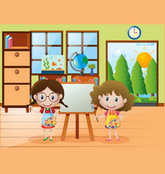 Two girls with paintbrush and paint palette vector