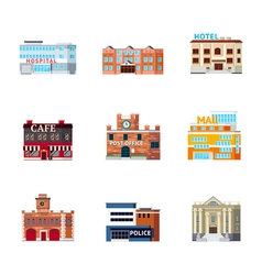 Urban Buildings Icon Set vector