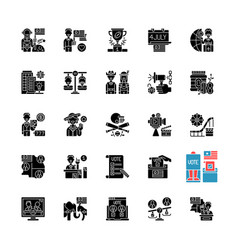 usa black glyph icons set on white space vector image