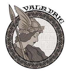 Valkyrie to scandinavian mythology vector