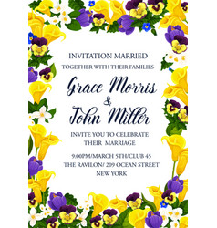Wedding ceremony invitation with yellow flowers vector