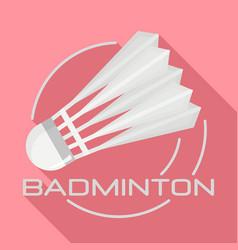 White badminton shuttlecock logo flat style vector