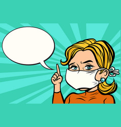 Woman in medical mask vector