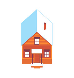 Wooden house at winter snowy roof icon vector