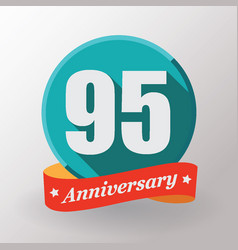 95 anniversary label with ribbon vector image