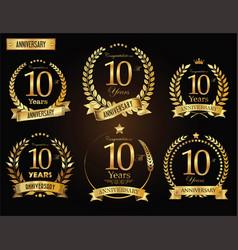Anniversary golden laurel wreath 10 years vector