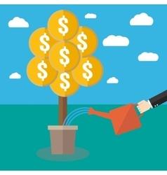 Businessman watering a money tree vector image vector image