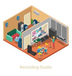 isometric music recording studio interior vector image vector image