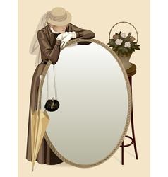 Retro woman with a mirror vector image vector image