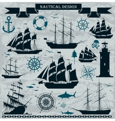 Set of sailing ships with nautical design elements vector image vector image