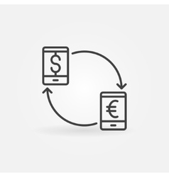 Smartphone currency converter icon vector image