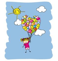 baby girl flying vector image vector image