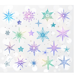 doodle blue and violet snowflakes on white glowing vector image