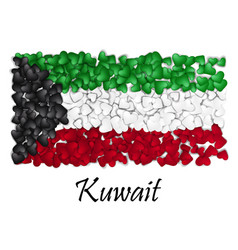 flag love kuwait flag heart glossy with love vector image vector image