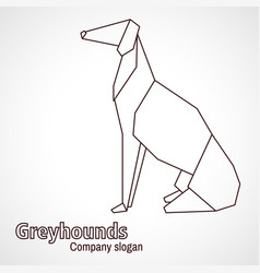 origami contours dog breed greyhound vector image