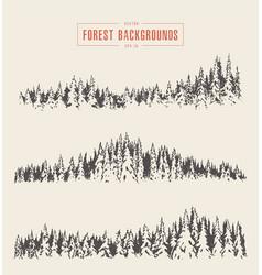 set pine forest backgrounds drawn sketch vector image vector image