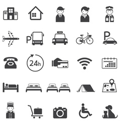 Hotel Accommodation Amenities Services Icons Set A vector image