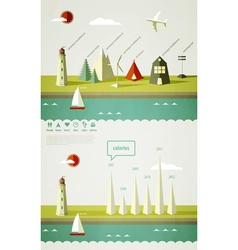 infographics elements with a lighthouse vector image vector image