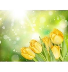 Pastel Spring Tulips Border EPS 10 vector image