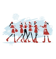 Santa girls for your design vector image vector image