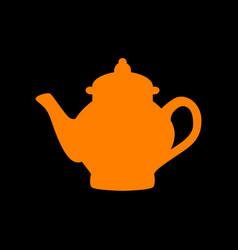 tea maker sign orange icon on black background vector image vector image